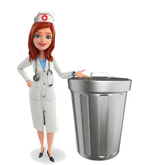 Nurse with garbage can
