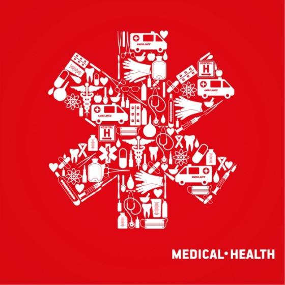 Red Medical Cross Picture with White Medical Symbols Inside It