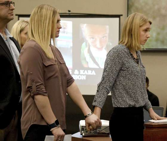 One of the Victims of Larry Nassar holds hands with sister